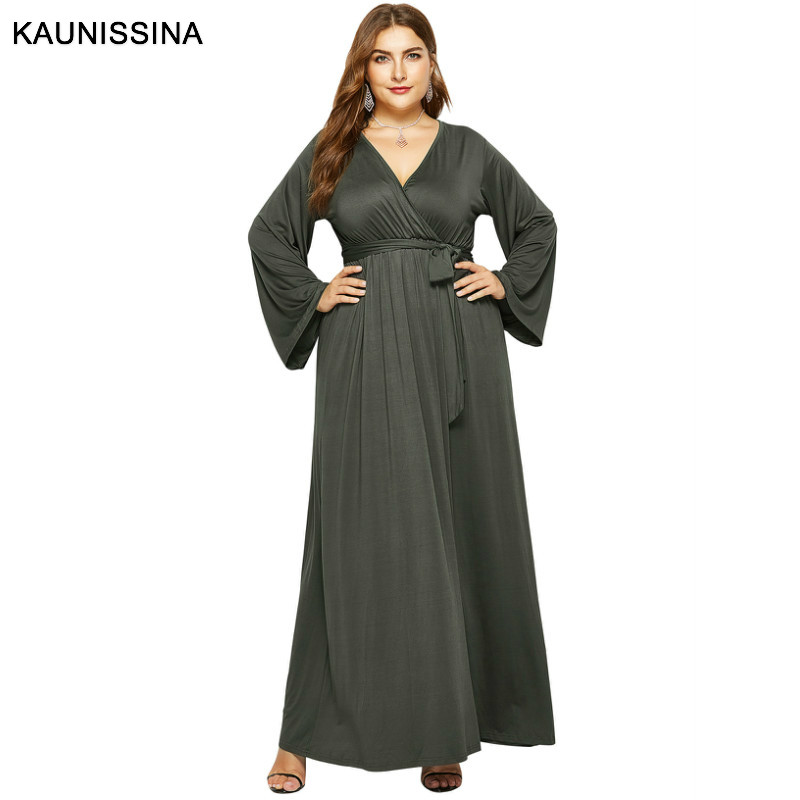 KAUNISSINA Plus Size   Cocktail     Dress   Long Sleeve Party Gown V-Neck Ankle Length Homecoming   Dresses   Solid   Cocktail   Robe