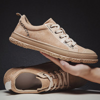 Trend Retro Casual Shoes Men Breathable Sneakers Leather Flat Shoes Men Vulcanize Shoes Outdoor High Quality Footwear R4 79