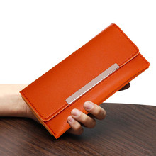 Женский кошелек оранжевый кожаный модный однотонный кошелек с металлическим украшением Повседневный клатч с несколькими картами для денег# ZD