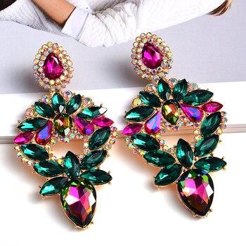 Long Metal Colorful Crystal Drop Earrings  4