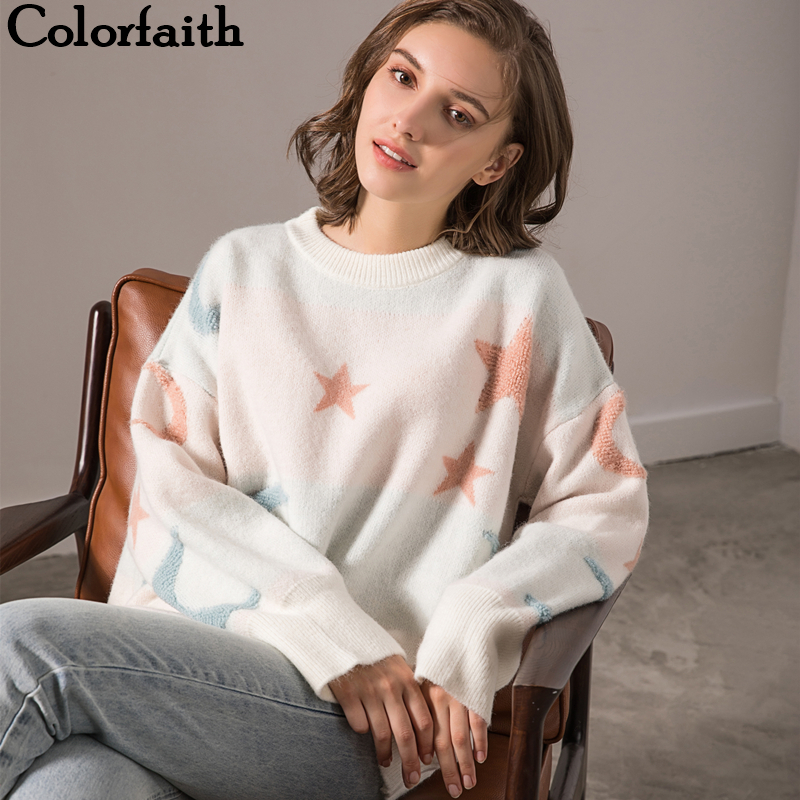 Colorfaith New 2019 Women's Pullovers Sweaters Knitting Autumn Winter Cute Korean Style Casual Loose Ladies Female Tops SW8138