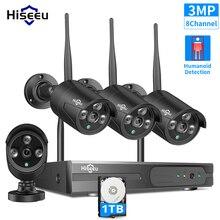 Hiseeu 8ch 3mp hd ao ar livre ir visão noturna de vigilância vídeo 4 pçs câmera ip segurança 1536p wi fi cctv sistema sem fio nvr kit hdd