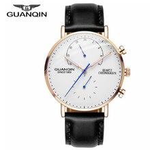 GUANQIN Luxury Brand Watches Men Creative Fashion Chronograph Luminous Analog Leather Strap Retro Quartz Watch men watches