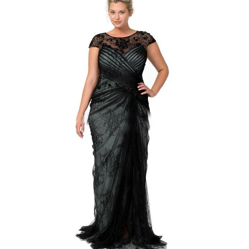 Vestido De Noiva Festa Longo 2018 Abiye Lace Mermaid Black Cap Sleeve Evening Party Gown Custom Mother Of The Bride Dresses