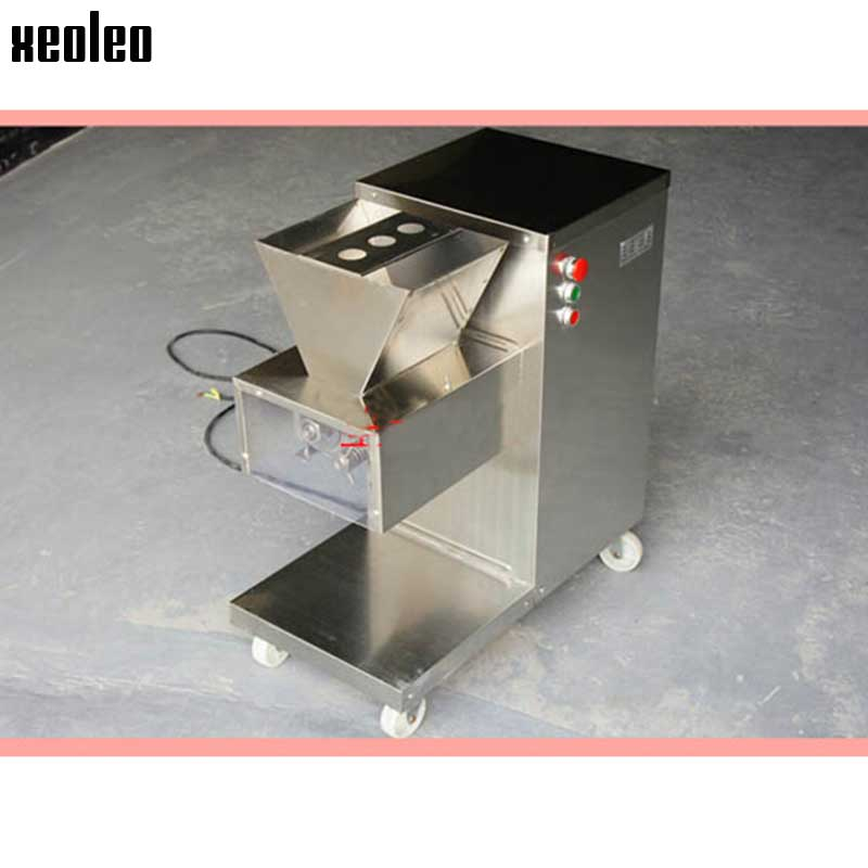 XEOLEO Meat Slicer Electric Meat Cutter Hredded/Diced Meat Machine Commercial Stainless Steel Slicing Machine 800kg/h 2.5/3/4mm