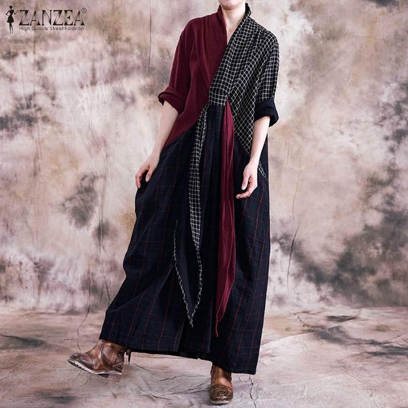 ZANZEA Vintage Plaid Checked Long Dress Women Pacthwork Maxi Sundress Autumn Retro Loose Party Vestido Kaftan Tunic Dresses 5XL