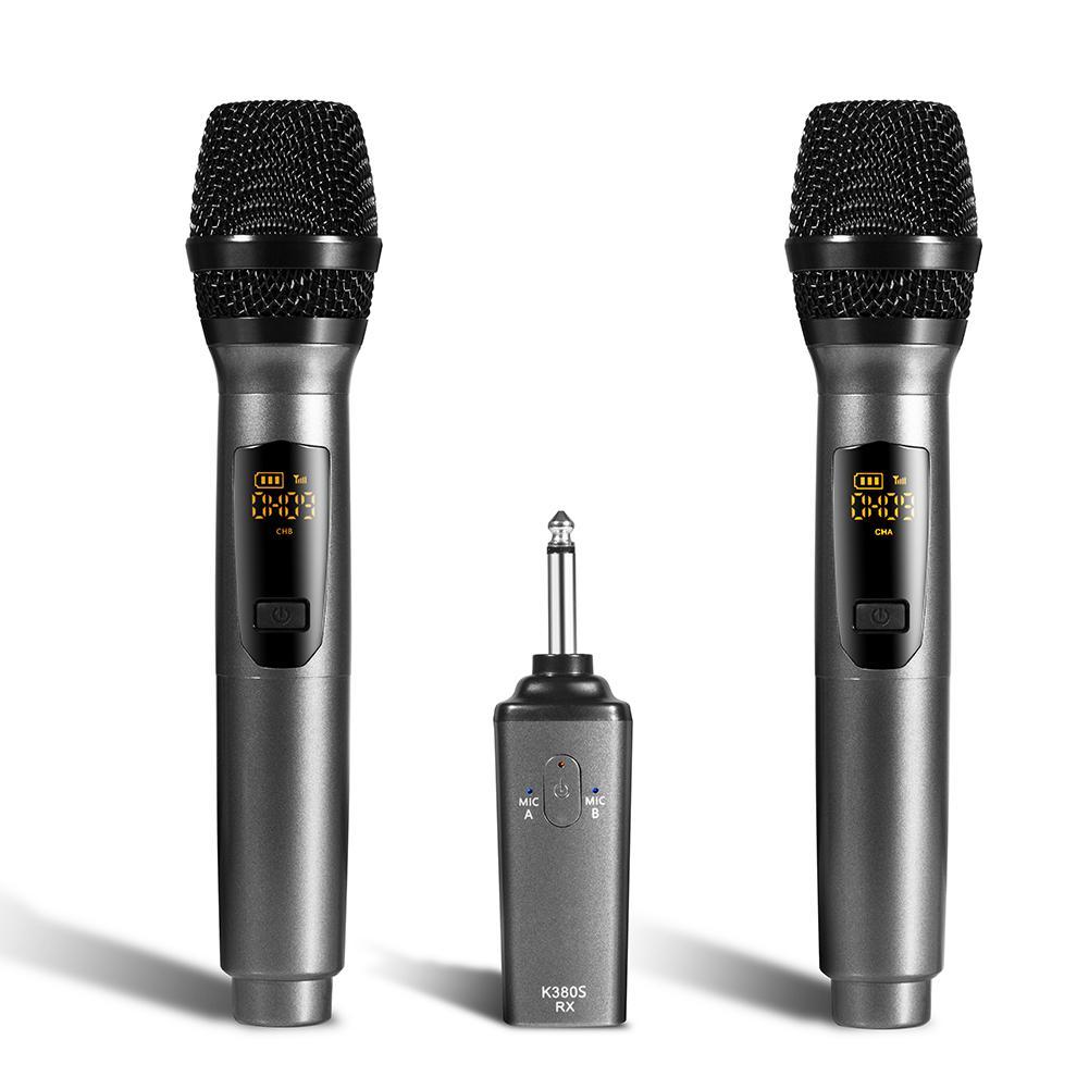 Беспроводной ручной двойной микрофон Портативный Открытый динамический