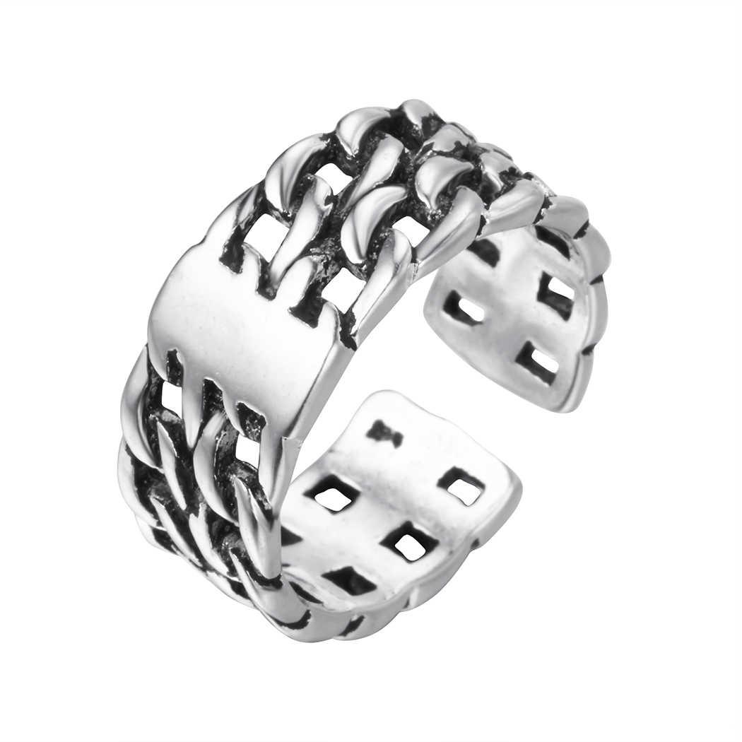 Vintage retro grande aberto exagerados anéis para mulheres estilo punk luxo tamanho ajustável declaração masculino anel partry presente