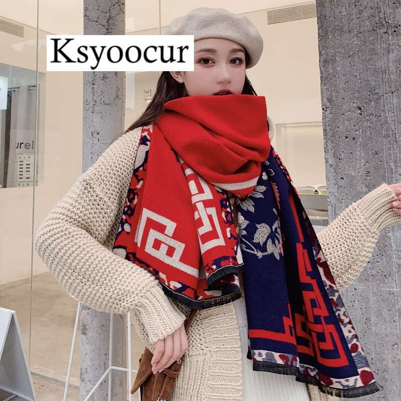 Size 190*65cm, 2020 New Autumn/Winter Long Section Cashmere Fashion Scarf Women Warm Shawls And Scarves Brand Ksyoocur E33