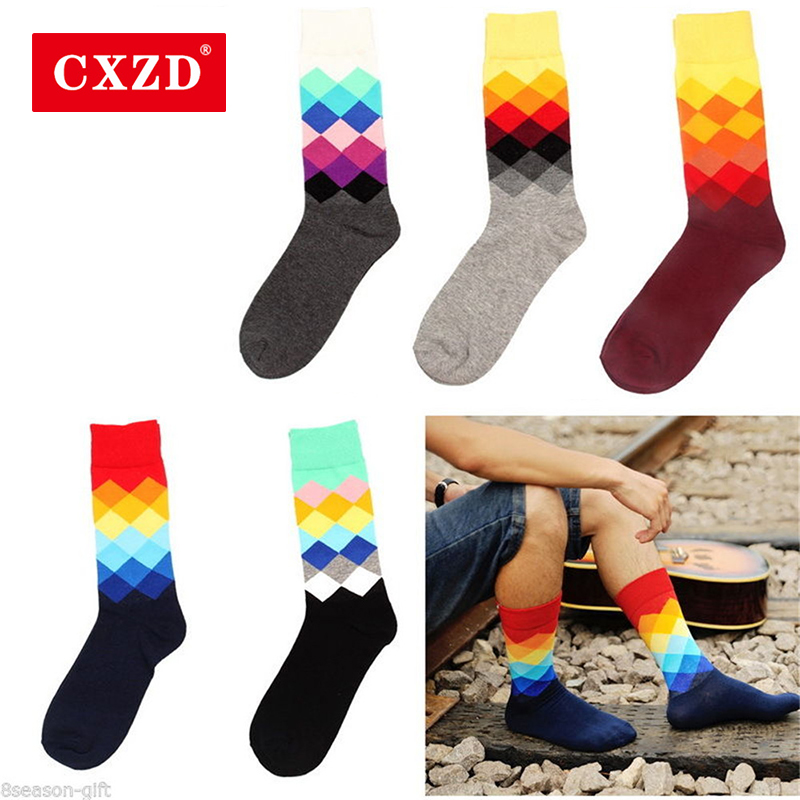 CXZD Casual Mens Cotton Colorful Geometry Socks Harajuku Gradient Color Business Dress Socks Diamond Plaid Long Socks