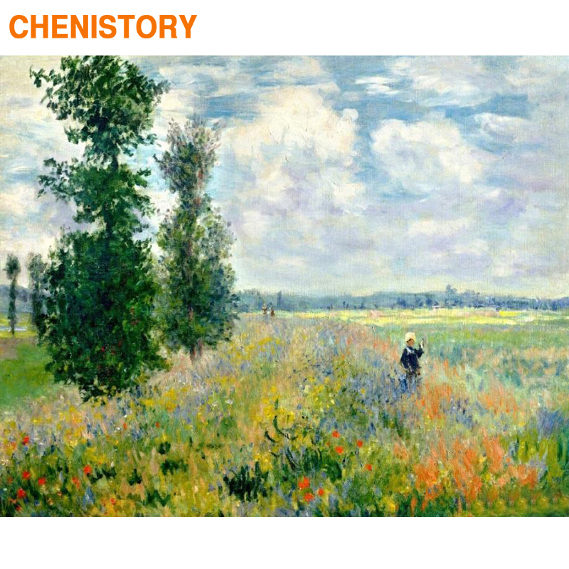 CHENISTORY Frame Field Landscape DIY Painting By Numbers Kit Canvas Painting Home Wall Art Decors Paint By Numbers For Art Gift