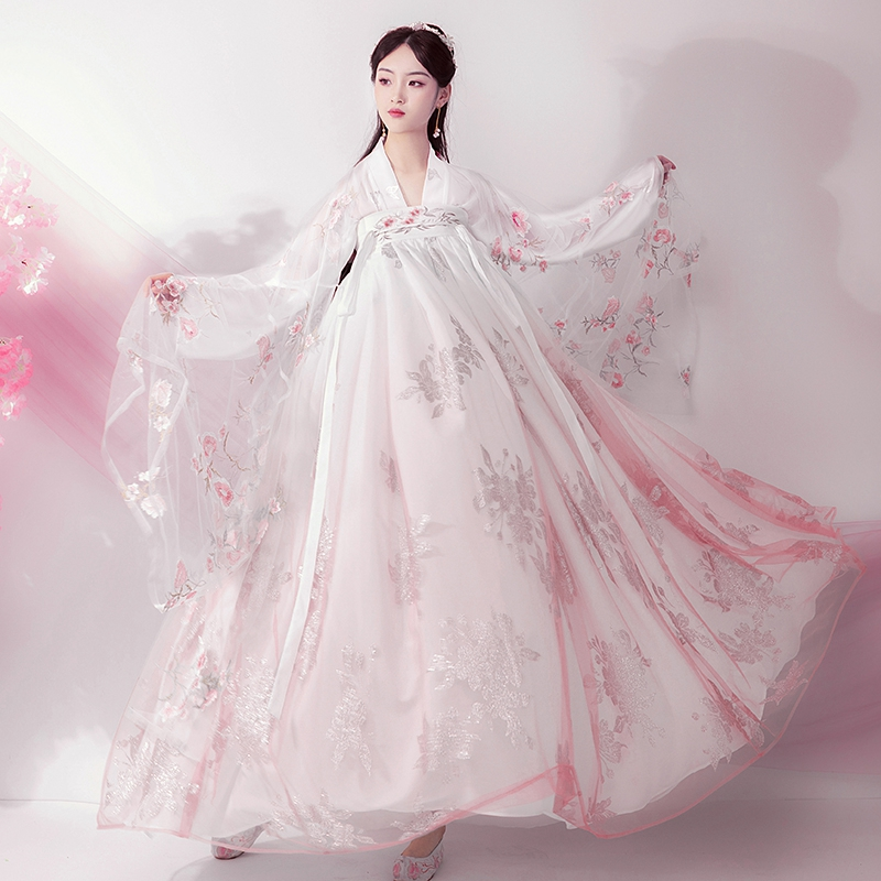 2020 Woman Hanfu Coat Chinese Style Ancient Costume Girl Hanfu Sunscreen Cardigan Chiffon Coat Modern Hanfu Cardigan