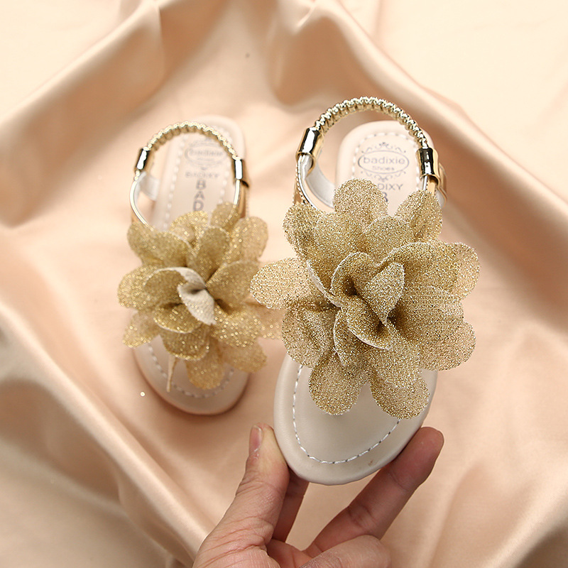 Girls Sandals 2020 Summer New Bohemia Flowers Baby Fashion Soft Students Shoes Kid's Cool Slippers Pink Thong Flats Single