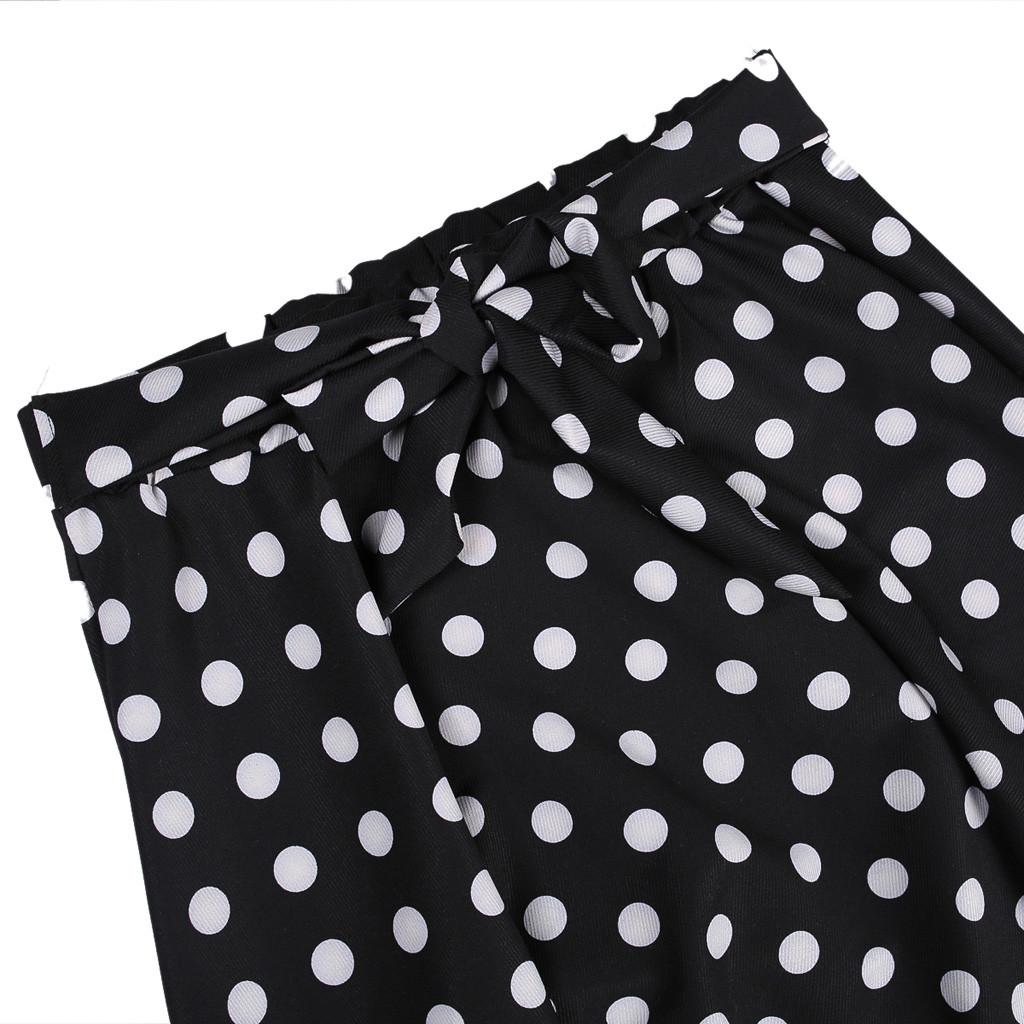 38# Women Pleated Mini Skirts Womens High Waist A line Skirt Bandage Design Flared Midi Skirts Belt Bow Tie Dot Printing Skirt