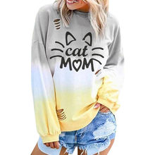 Cat Printed Women Oversized Pullovers Long Sleeve Loose Casual Sweatshirts Tops Student Girls Autumn Home Crewneck Pullover(China)