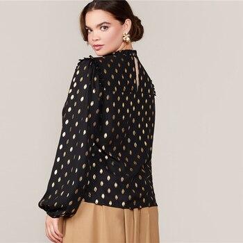 Blusa manga larga puntos dorados Tallas Plus 1