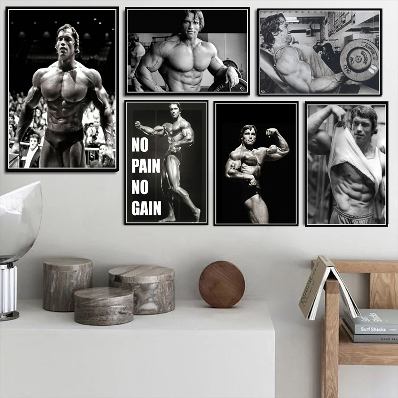 Poster Prints Oil Painting Arnold Schwarzenegger Bodybuilding Fitness Gym Workout Wall Art Pictures Home Decor Kartiny Na Stenu Painting Calligraphy Aliexpress