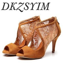 DKZSYIM brand new arrival black / brown suede lace ladies Latin dance shoes high heel 6-10 cm boots top brand unique design black suede boots back front lace up fastening dress boots trendy ladies footwear thin high heel shoes