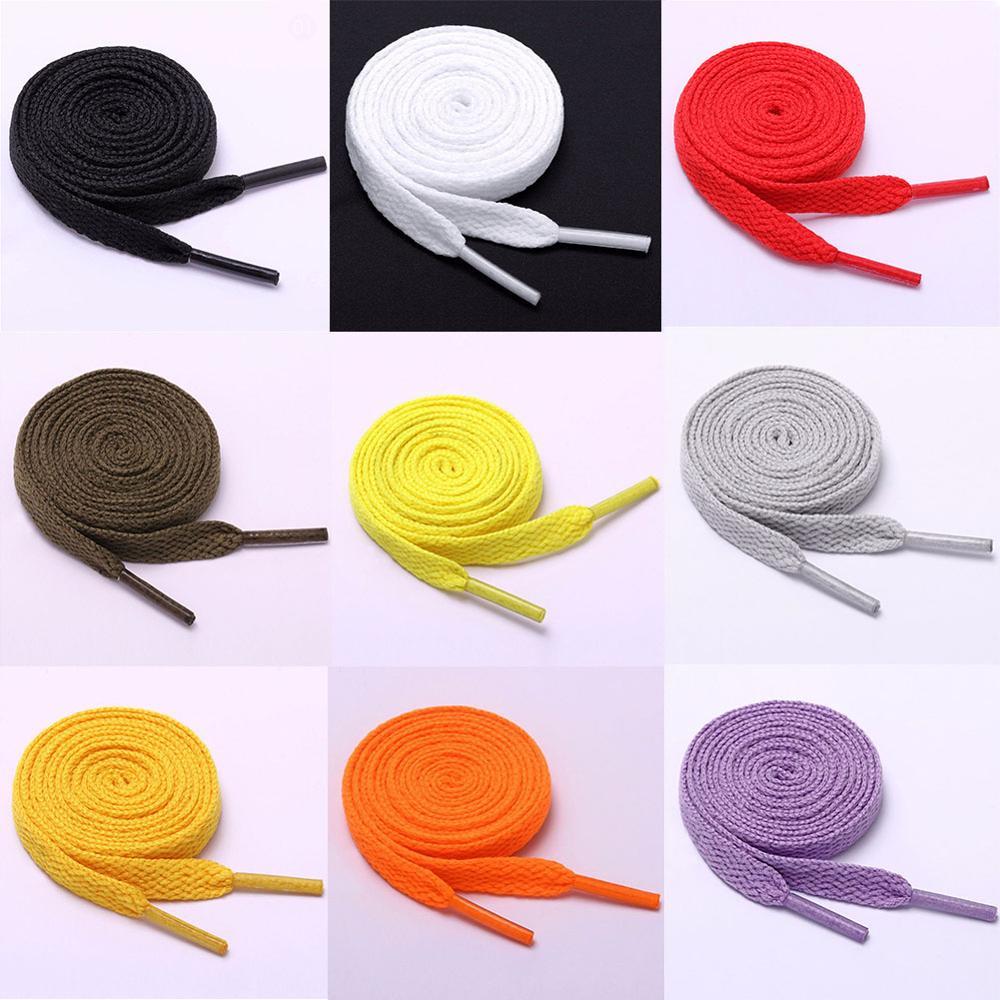 1 Pair Cotton Flat Solid Shoelaces Canvas Available Length Double Layer Shoe Laces White Color Elastic Shoelaces High Quality