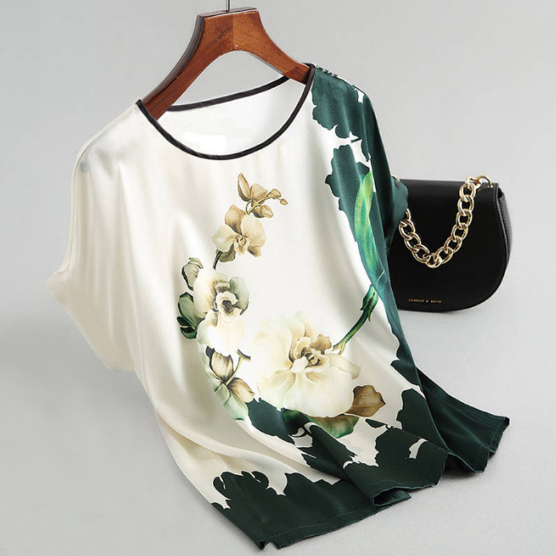 Fashion Floral Print Blouse Pullover Ladies Silk Satin Blouses Plus Size Batwing Sleeve Vintage Print Casual Short Sleeve Tops