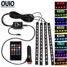 48LED RGB Music Voice Control Atmosphere Lamp Car Lights Change Color Led Car Interior 12V Decorative Light With Switch Remote interior decorative atmosphere neon light lamp led wireless multi color rgb voice sensor sound music control car lighte ae