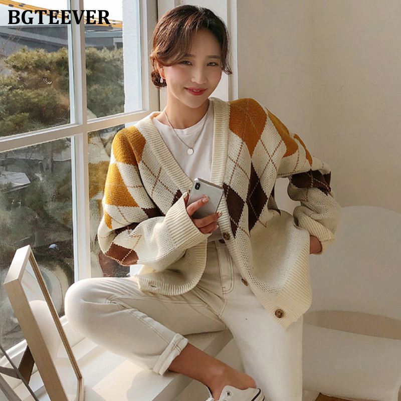 BGTEEVER Vintage Casual Loose Female Knitted Open Stitch V-neck Jumpers 2019 Winter All-match Plaid Women Sweater Cardigan
