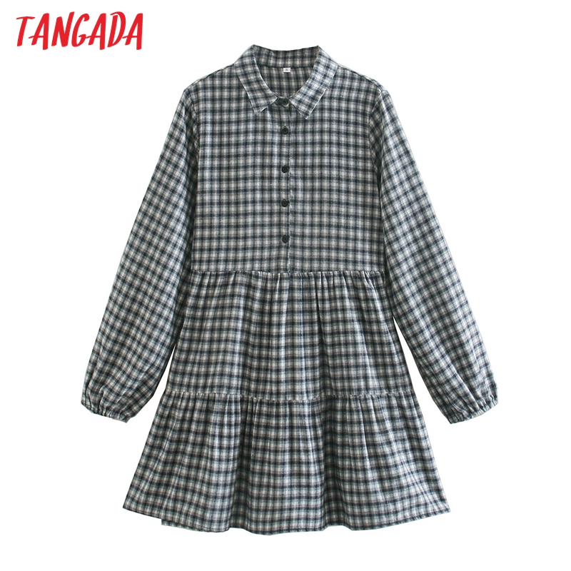 Tangada-Vestido camisero estampado a cuadros para mujer, vestido de oficina de manga larga, minivestido CE51