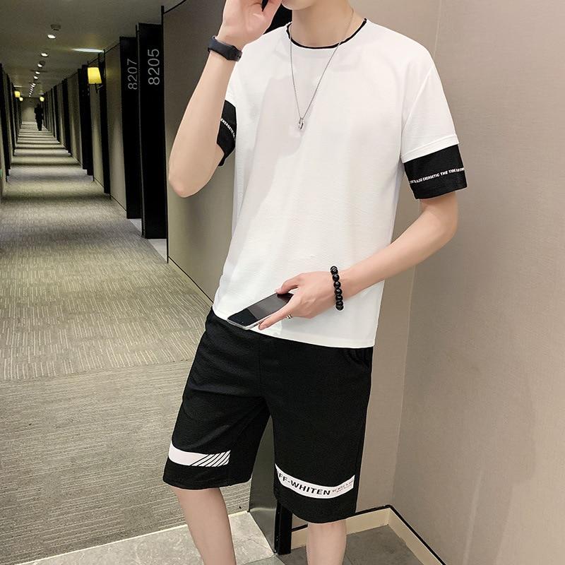 MEN'S Short-sleeved T-shirt Summer A Set Korean-style Trend Men'S Wear Xia Sports Casual Handsome Collocation Popular Brand Summ