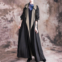 2020 Spring Autumn Large Size Women Trench Coats original literature art retro loose Long Woolen Striped Windbreaker Coat N1197