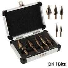 цена на 5pcs Step Drill Bit Set Hss Cobalt Multiple Hole 50 Sizes SAE Step 1/4-1-3/8 3/16-7/8 1/4-3/4 1/8-1/2 3/16-1/2 Aluminum Case