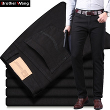 Black Jeans Brand Pants Straight Men's Fashion Trousers Male Classic-Style Stretch Denim