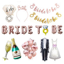 Rose Gold Bride To Be Letter Balloon Mr Mrs Wedding Decoration Diamond Ring Ballon Bridal Shower Hen Bachelorette Party Supplies