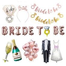 Globo de Oro rosa para ser la novia letra Sr. Sra. Decoración de boda anillo de diamante globo nupcial ducha suministros de despedida de soltera