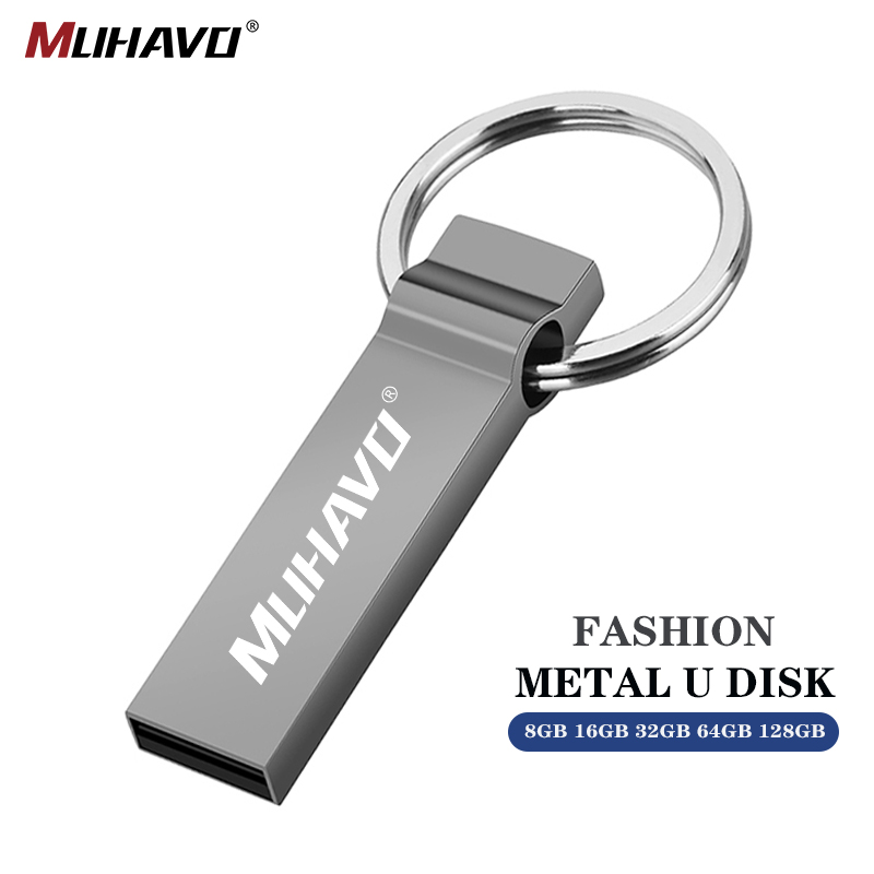 Usb Flash Drive 128gb Metal Pen Drive 64GB 32GB 16GB Waterproof Pendrive 8GB Memory Stick Key Chain Card Memory Stick Drives 2.0