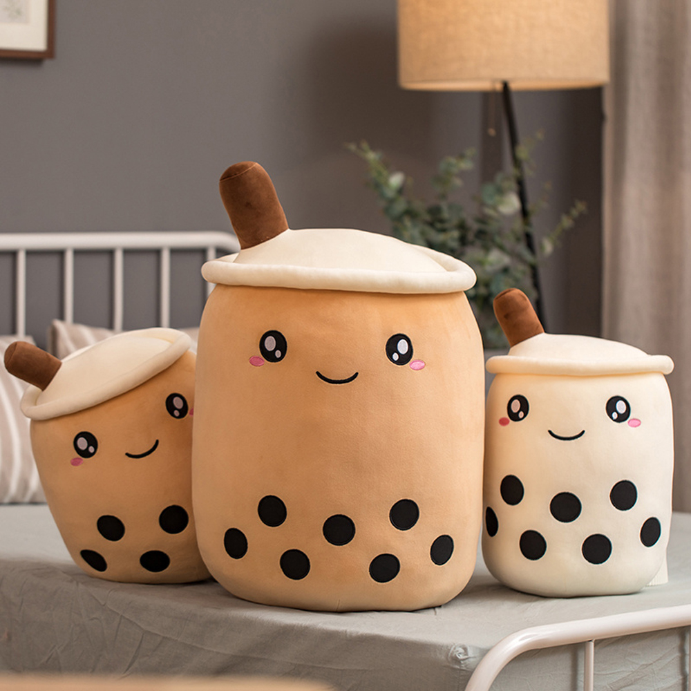Cartoon Bubble Tea Cup Shaped Pillow With Suction Tubes Real-life Stuffed Soft Back Cushion Funny Boba Food Gifts For Kids