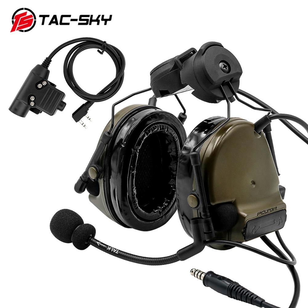 TAC-SKYCOMTAC III Helmet Bracket Silicone Earmuff Version Noise Reduction Pickup Tactical Headset FG+ Walkie-talkie PTT U94PTT