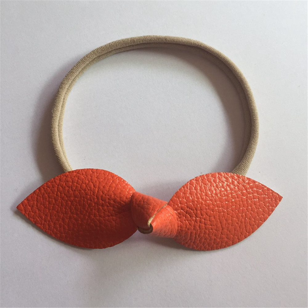 10Pcs Newborn Headwear Hair Bows Hair Band Leather Bow Headband Elastic Nylon