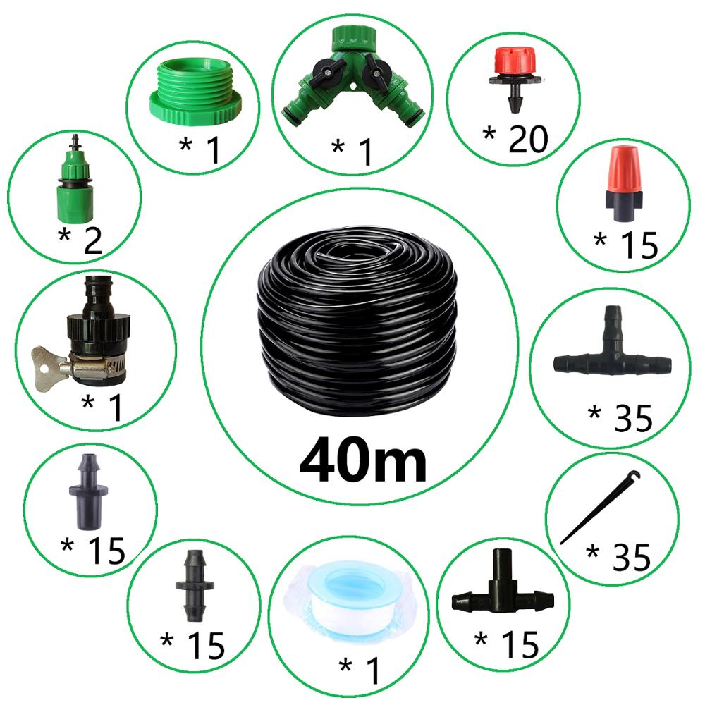 40m Drip Irrigation Kit,Patio Plant Watering Kit Garden Agriculture Greenhouse Mist Cooling Irrigation System Automatic Micro Fl