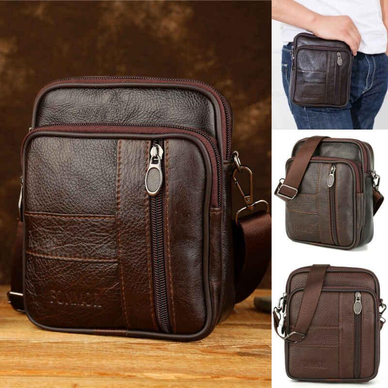 2019 lo más nuevo caliente Vintage de los hombres de cuero genuino Casual bolso de mensajero de cuerpo cruzado bolso de mano bolso de hombro