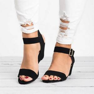 Wedges Sandals Women Shoes Buckle-Strap Office High-Heels Plus-Size Casual Summer Black