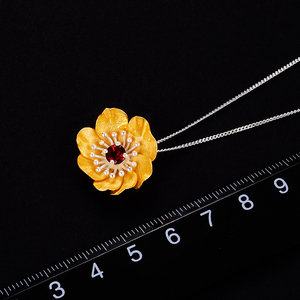 Image 5 - Lotus Fun Blooming Anemone Flower Pendant without Necklace Real 925 Sterling Silver Handmade Designer Fine Jewelry for Women