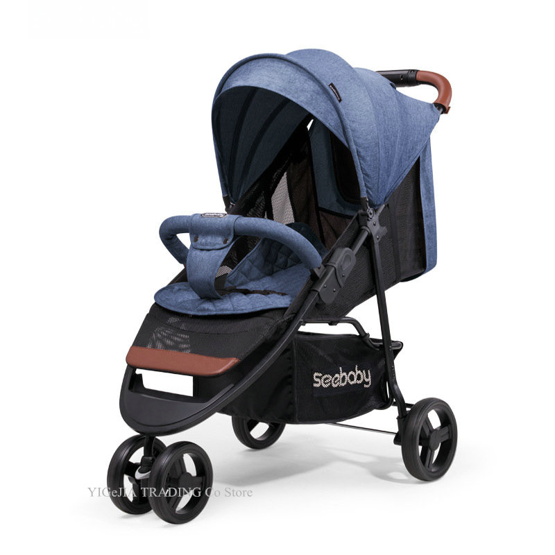 Lightweight Baby Jogger, Quick Fold Baby Stroller, Four-wheel Shock Absorption Portable Carriage