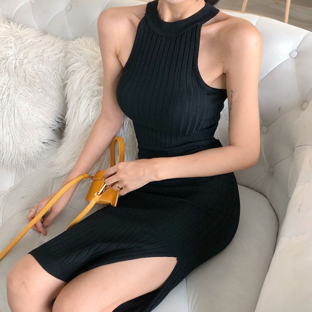 New Women Long Knitting Dress Spring Sexy Slim Bodycon Dresses Elastic Skinny Split Dress Brief Halter Black Dresses Vestidos 6