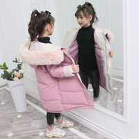 Winter Girls Thick Warm Coat Padded with Down Cotton Faux Fur Big Collar Hooded Parka Jackets Russian Snow wear Children Clothes