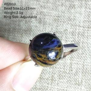 Image 5 - Женское и мужское кольцо кошачий глаз AAAAA, регулируемое колечко с натуральным синим драгоценным камнем, из серебра 925 пробы, ааааа