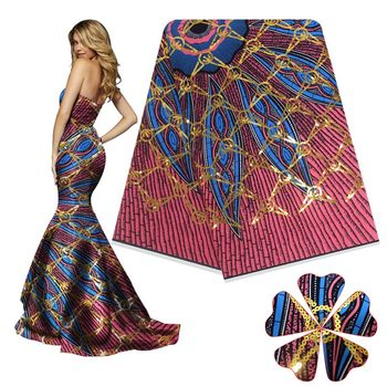 High-end latest style party dress cloth printing African real Ankara wax cloth 3D sequins for wedding dres S18121901