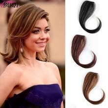 BUQI 25-35 см натуральный цвет шпилька в челке передняя сторона челки для женщин синтетический зажим в челке наращивание волос