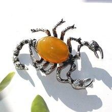 Farlena Schmuck Semi-wertvolle stein insekt Brosche Männer Skorpion abzeichen pins Vintage Opal Broschen für Frauen Kleidung zubehör