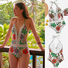 2020 sexy womens printing floral bandage one piece swimsuit