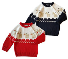 European and American Style Childrens Sweater for Christmas Pullover Elk Pattern Boys Winter Warm Jacket Kids Clothes